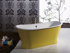 free-standing bathtub / oval / stainless steel / copper