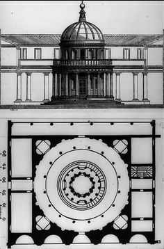 BRAMANTE: PLAN for the Tempietto in the courtyard of San Pietro in Montorio, Roma. Bramante originally planned to set it within a colonnaded courtyard.