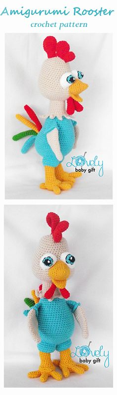 Amigurumi Rooster crochet pattern in English, Danish, Dutch, German and French languages. https://www.etsy.com/transaction/1196026221