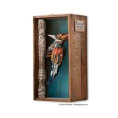 Faux Taxidermy Bird Diorama / The King Woodpecker Metal Sculpture