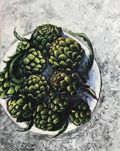 Excited to share the latest addition to my #etsy shop: Green artichokes on a plate. Acrylic painting. Home decor. Kitchens, cafes, restaurants. https://etsy.me/2E9nICc #art #painting #green #housewarming #grey #artichokes #plate #:)