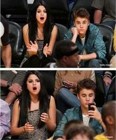 Dont bring a girl in the NBA finals, shell get bored. Justin Bieber. Selena Gomez.