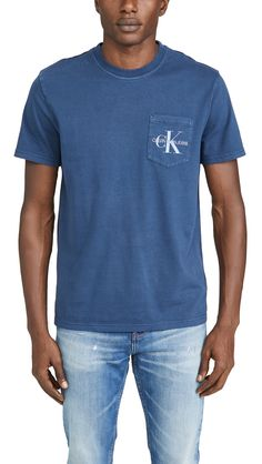 Calvin Klein Jeans Garment Dyed Monogram Pocket Tee In Mood Indigo India Fashion, Mens Fashion, Monogram Pocket Tees, Mood Indigo, Denim Branding, Print Logo, Calvin Klein Jeans, Tee Shirts, Short Sleeves