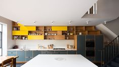 Open Plan Kitchen, Kitchen Dining, Kitchen Cabinets, Yellow Kitchen Cupboards, Space Kitchen, Upper Cabinets, Kitchen Ideas, Victorian Terrace House, Plywood Cabinets