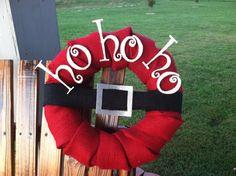 DIY Burlap Christmas Wreaths | Christmas Burlap Wreath Santa Ho Ho Ho by ... | Christmas DIY Decor