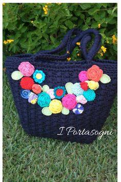 Borsa blu fiori di primavera di Portasogni su Etsy