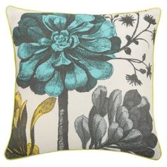 Botanical Pillow in Aqua. Design by thomaspaul. Cute Pillows, Large Pillows, Linen Pillows, Linen Bedding, Decorative Pillows, Throw Pillows, Bed Linens, Floral Furniture, Modern Furniture