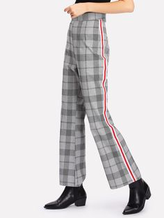 Stripe Tape Side Glen Plaid Pants -SheIn(Sheinside)