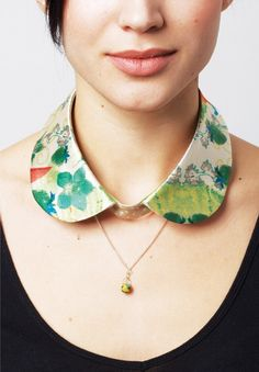 I like the idea of a printed or embroidered detachable collar with the scoop shirt and still being able to wear a necklace!