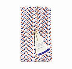 """Safomasi's FlagPrinted Napkins will lend a nautical feel to your table. The vibrant red and blue ferry flagpattern is hand screen printed onto white, cotton linen textile. Set of four. 55% cotton 45% linen. Machine wash gentle cycle at low temperature. 18"""" x 18"""" Inspired Design:Safomasi's contemporary textiles are created in India with traditional craftsmanship. Each limited edition, handmade print is inspired by a melange of cultures, travels and experiences, telling the story of a…"""