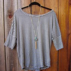 Black & white striped oversized tee! Black & white striped Tshirt. Slouchy fit. Gently used. Brand is Tulle. Tulle Tops Tees - Short Sleeve