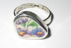 Broken China Ring Sterling SilverPurple Blue by MaroonedJewelry