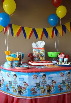 Paw Patrol Birthday Party By Erin Dove Sons Birthday, Third Birthday, 3rd Birthday Parties, Birthday Ideas, Kid Parties, Paw Patrol Party Decorations, Paw Patrol Birthday, First Birthdays, Party Ideas