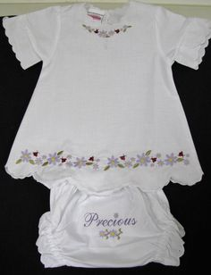 Embroidered Flowers & Ladybug Baby Dress by EmbroiderybyAlison, $45.00