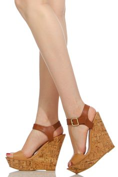8999aa358699 Natural Two Tone Faux Leather Cork Wedges   Cicihot Wedges Shoes Store Wedge  Shoes