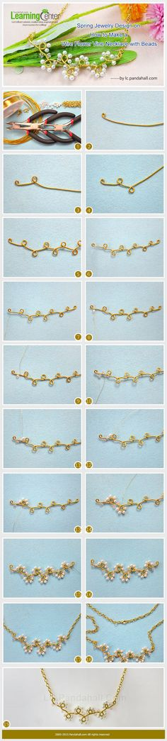 Spring Jewelry Design on How to Make a Wire Flower Vine Necklace with Beads