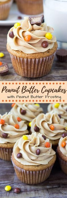 Fluffy, moist peanut butter topped with creamy peanut butter frosting…. Fluffy, moist peanut butter topped with creamy peanut butter frosting. These are the perfect cupcakes for true peanut butter lovers. Butter Cupcake Recipe, Peanut Butter Cupcakes, Peanut Butter Desserts, Cupcake Flavors, Creamy Peanut Butter, Chocolate Cupcakes, Flavored Cupcakes, Cupcake Toppings, Peanut Butter Icing