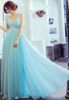Deep V Turquoise  chiffon evening dress from WeiweiK
