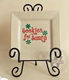 Vinyl Cookies For Santa Square Plate by KWintersDesigns on Etsy Square Plates, Santa Clause, Vinyl Lettering, Vinyl Projects, Christmas Projects, Project Ideas, Cricut, Xmas, Silhouette