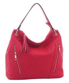 Look what I found on #zulily! Red Double-Zip Tassel Hobo #zulilyfinds