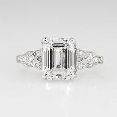 Sensational 1930's Art Deco 2.90ct t.w. Emerald Cut Diamond Filigree Engagement Wedding Ring Platinum