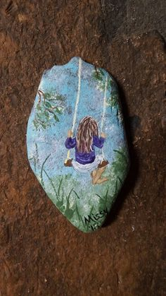 Swing with me, painted rock