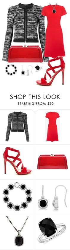 """Red For the Office"" by sommer-reign ❤ liked on Polyvore featuring Diane Von Furstenberg, Alexander McQueen, MKF Collection, Belk & Co., Allurez, David Yurman and Blue Nile"