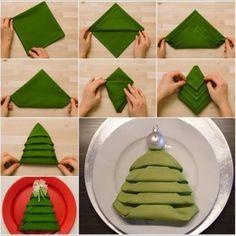 Pour Noël, épatez vos invités avec ce pliage de serviette en forme de sapin. Réaliser un sapin de Noël avec une serviette de table en papier ou tissu. Pour votre repas de Noël.