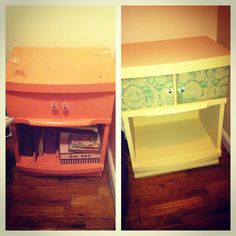 I painted this old night stand and mod podged the drawer with my favorite scrap book paper! It turned out pretty cool!
