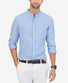 Nautica Men's Linen Banded-Collar Long-Sleeve Shirt Short Kurta For Men, Trench Coat Men, Casual Wear For Men, Summer Shirts, Stylish Men, Casual Shirts, Long Sleeve Shirts, Menswear, Men's Chinos