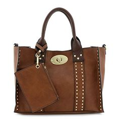 3pc Set Studded Turn Lock Tote Bag with Crossbody
