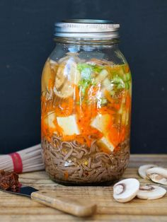 Vegan and gluten free miso noodle soup with tofu cooks in the jar!