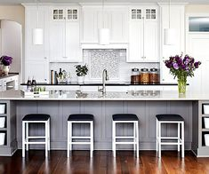 White Kitchen Design Ideas-- so clean and bright, I LOVE a white kitchen (and they're not that hard to clean, trust me!)