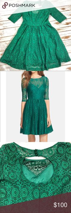 Plenty by Tracy Reese Estella Emerald Lace 8 NWT Super adorable dress the little eye is missing who hooks those anyways lol 😒 the dress is super cute with lots of layers to add fullness in the skirt the bust measures 19in the outer layer has a lot of stretch the inner layer is fitted. The length is from neck to hem is approximately 37in the waist measures15in. If you have any questions please Plenty by Tracy Reese Dresses