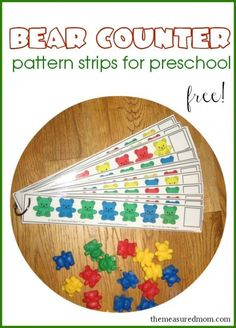 Free Bear Counter Pattern Strips.  Print out these 25 different strips so your student can practice AB, AAB, ABC, and ABCD patterns.  Laminate for durability.  Would make a great math center activity.  Download at:  http://www.themeasuredmom.com/free-bear-counter-pattern-strips-for-preschoolers/