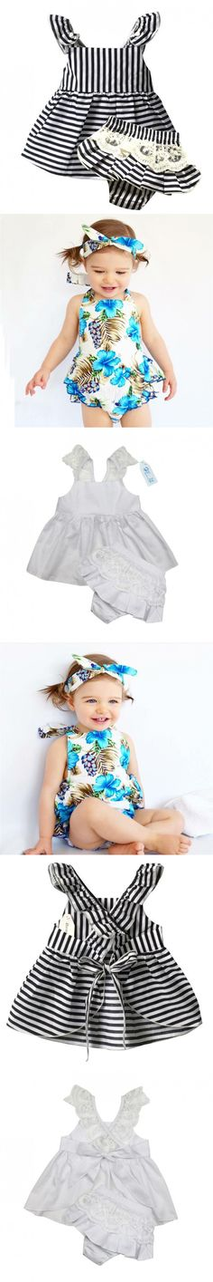 Baby Girl Clothes brand Newborn sleeveless Stripe belt Ball Gown+lace Shorts1year birthday infant clothing baby girl set bebes $14.98