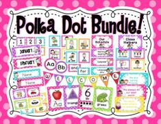 This polka dot classroom decor bundle includes ELEVEN of my polka dot products! You save $13.00 by buying the bundle! You can see the description for each product below:Classroom Rules Daily Schedule Behavior Chart Clasroom Jobs Chart Centers Chart Alphabet Posters Numbers, Colors & Shapes Posters Name Plates Classroom Library Labels Calendar Kit Banners Please Note: The folder needs to be unzipped in order to access the files.