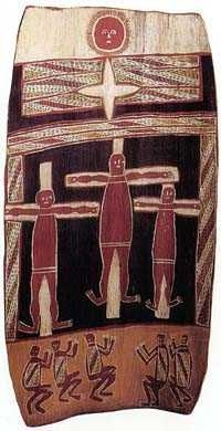 Munyal: Crucified Jesus Aboriginal painting on bark, Maningrida, northern Australia