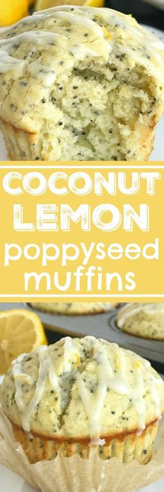 Coconut Lemon Poppyseed muffins with a lemon glaze. These muffins are filled with coconut oil, coconut extract, fresh lemon zest & fresh lemon juice! Muffin Recipes, Brunch Recipes, Baking Recipes, Breakfast Recipes, Dessert Recipes, Baby Recipes, Brunch Ideas, Easy Desserts, Lemon Poppyseed Muffins