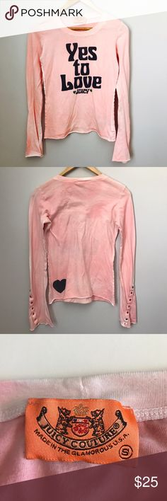 """Juicy Couture long sleeve tee Juicy Couture light pink long sleeve tee. Super soft! 100% cotton. Snap detail on cuffs. Made in USA 🇺🇸. Size small. Measures 16"""" pit-to-pit. 21"""" long. Sorry, no trades & I am unable to model. Juicy Couture Tops Tees - Long Sleeve"""