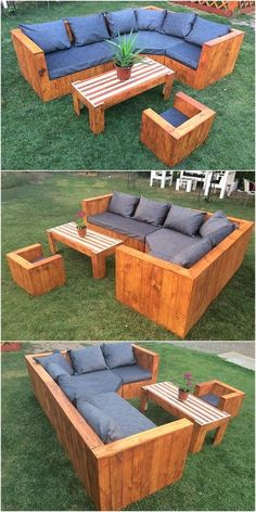 Grab up this image that is giving you the complete outlook impact of the design of wood pallet couch set for you! Isn't it look so sophisticated and clean in terms of the finishing flavors? Well it is! Such crafting work do require the helping hand of the Pallet Garden Furniture, Diy Outdoor Furniture, Couch Furniture, Furniture Design, Furniture Making, Furniture Projects, Pallets Garden, Furniture Online, Cheap Furniture
