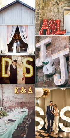 These photos are awesome inspiration for incorporating marquee signage into a wedding. Very fun!