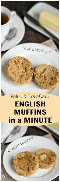Miss bread with breakfast? It only takes a couple minutes to make a paleo English muffins in a minute. And they are low carb and grain free! | LowCarbYum.com