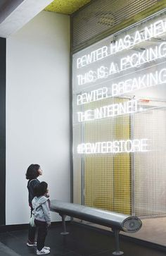 Urban and technological sensations merge in the new Pewter flagship store in the heart of Gandía, Valencia, designed by local firm CuldeSac. Wayfinding Signage, Signage Design, Facade Design, Retail Facade, Shop Facade, Environmental Graphics, Environmental Design, Display Design, Store Design