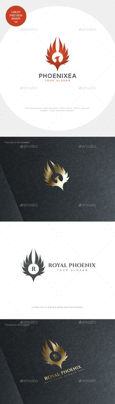 Phoenix Logo Crest by asynchro This logo is 2 in 1: awesome phoenix iconic logo and elegant phoenix (or any other bird) crest with easily editable letter. You ca