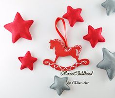 SET 3 Wooden rocking horse ornament christmas by SweetChildhood