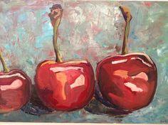 "Saatchi Online Artist: Anna Kodesch; Oil, 2012, Painting ""3 cherries"""