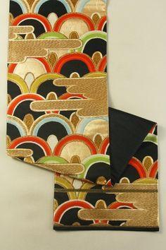Black Fukuro Obi (Rokutsuu), Gold Haze and Multiple Color Seikaiha Pattern…