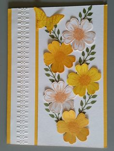 Card - Designed by Sandy using Stampin Up Flower Shop and Flower Patch stamps sets, Punches and inks.