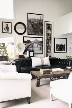 New Tan Black and White Living Room